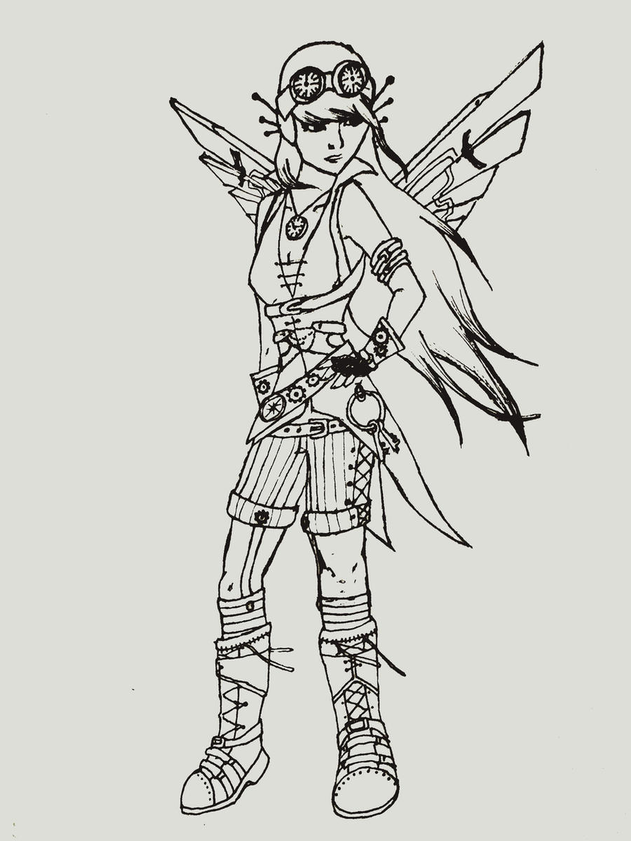 steampunk girl coloring pages - photo#1