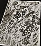 black marker doodle w black watercolor paint