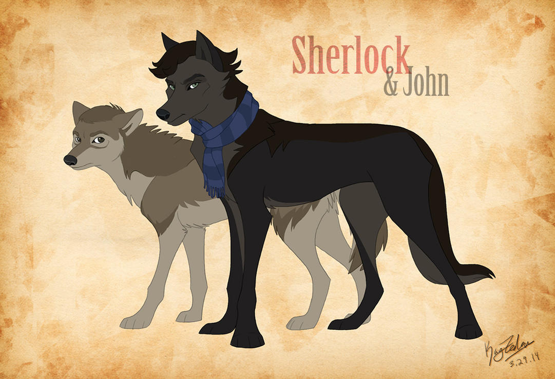 Sherlock AND JOHN wolves by KayFedewa