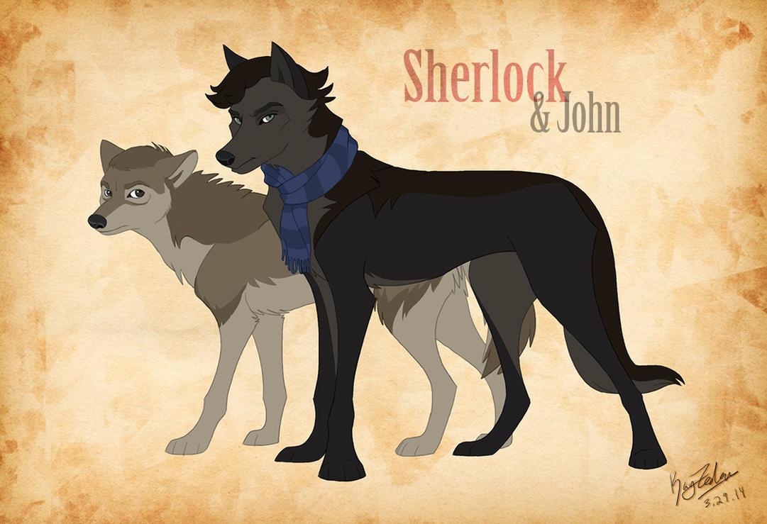 Sherlock AND JOHN wolves by KayFedewa