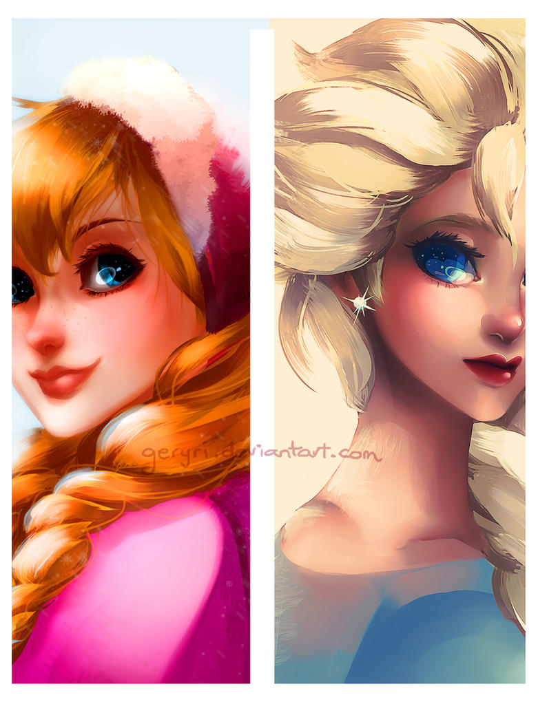 Anna and Elsa by geryri