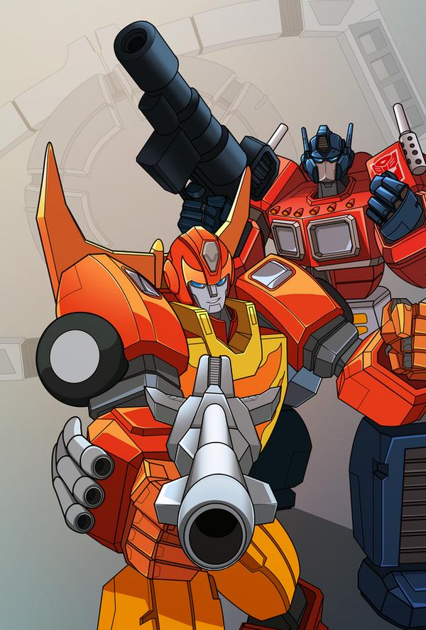 Optimus and HotRod by emanz