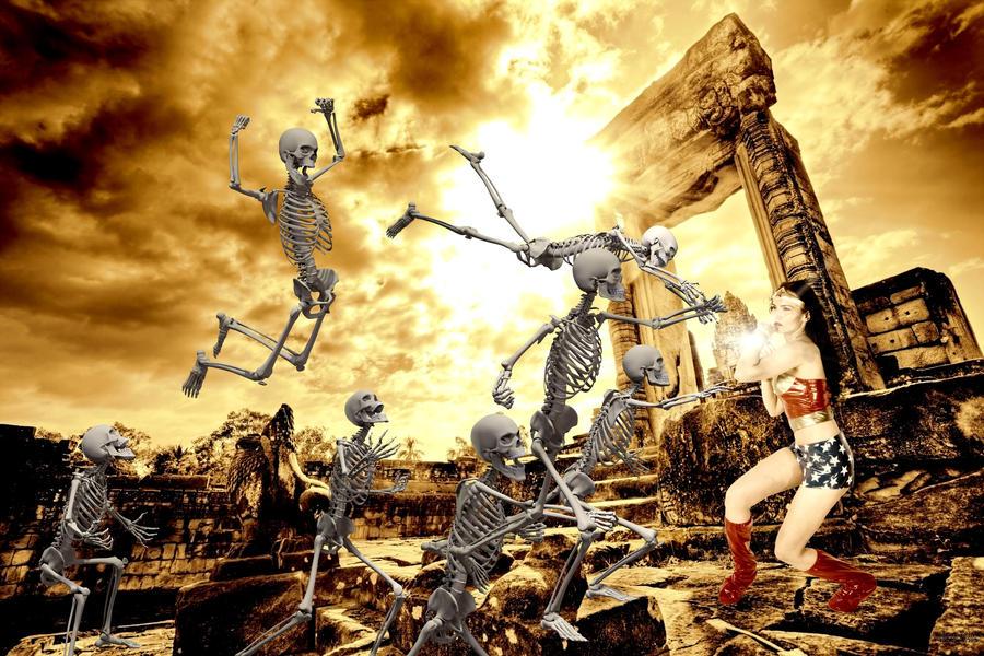 Wonder Woman VS. Skeleton Army by editingninja
