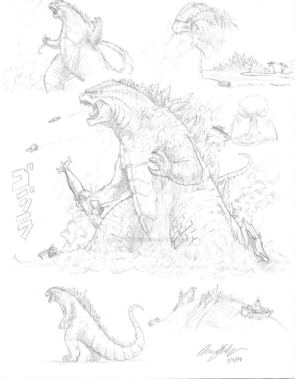 Godzilla 2014 Doodles (At Request) by kaijugroupie84
