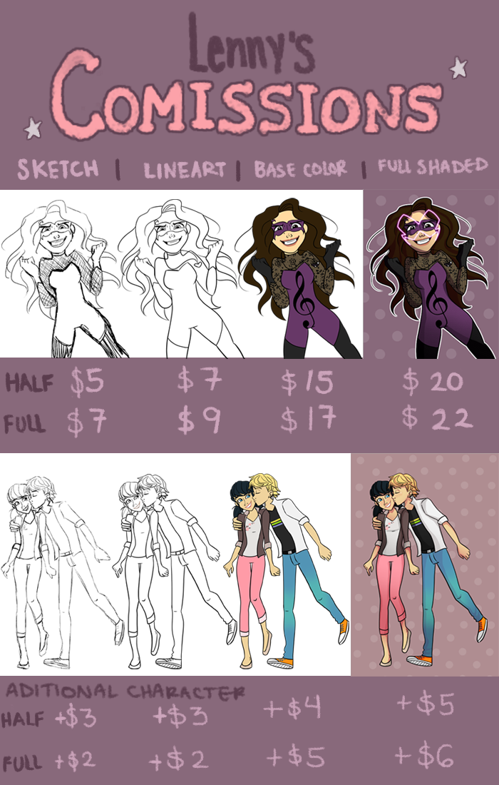 Comission Chart by Leneeh