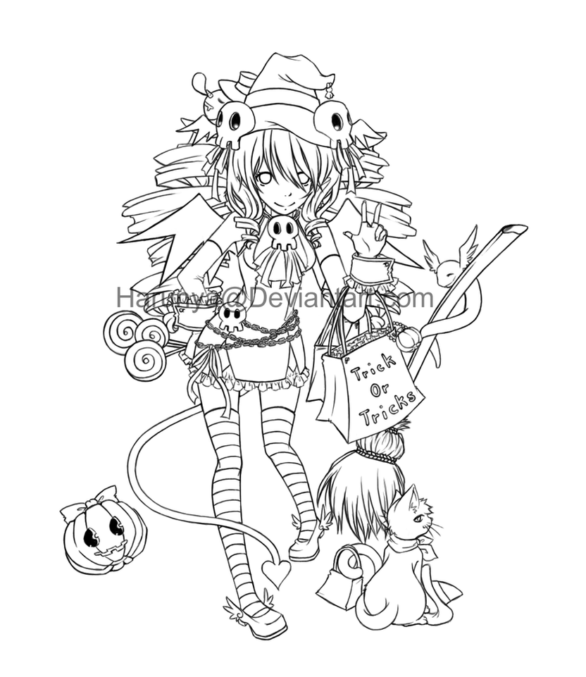 Line Art Halloween : Happy halloween  lineart by harunya on deviantart