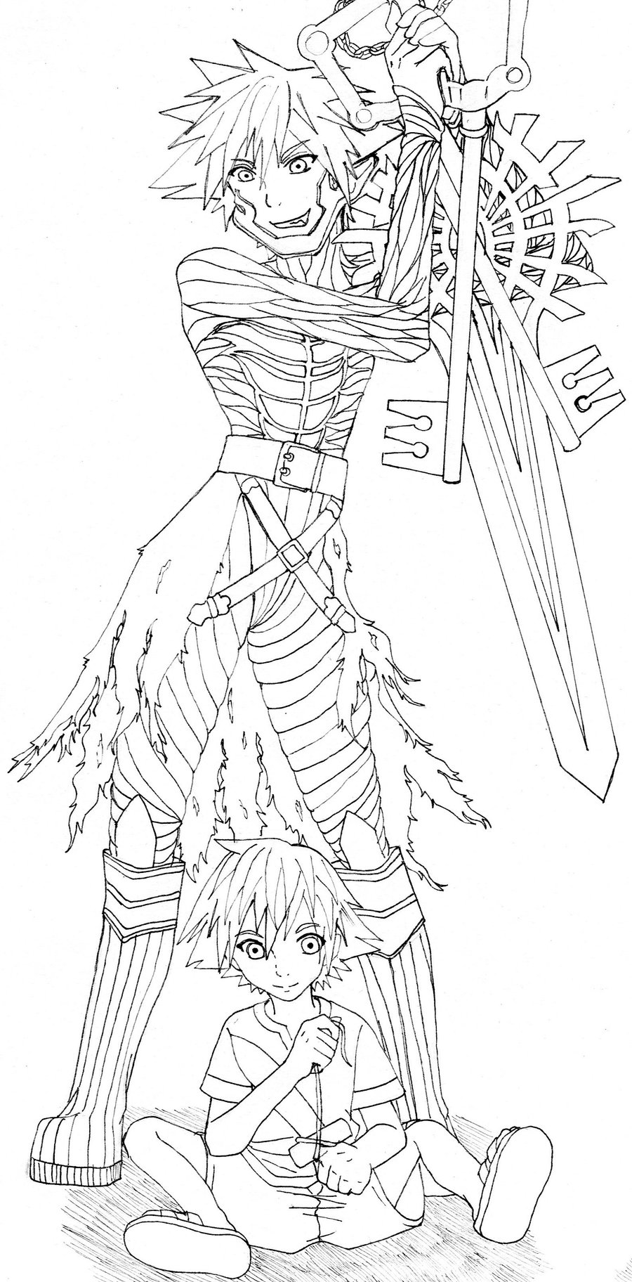 Sora Kingdom Hearts Lineart : Vanitas and sora lineart by reiwonderland on deviantart
