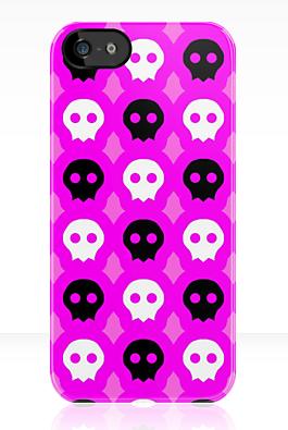Pink Skull Phone Case by AquaDewRose