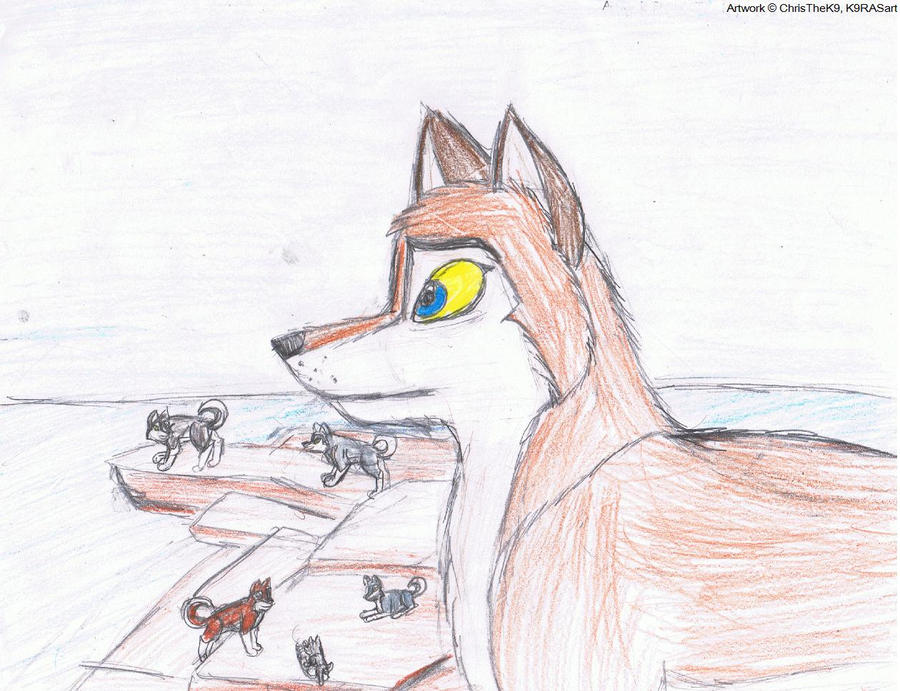 Watching over the pack by K9RASArt