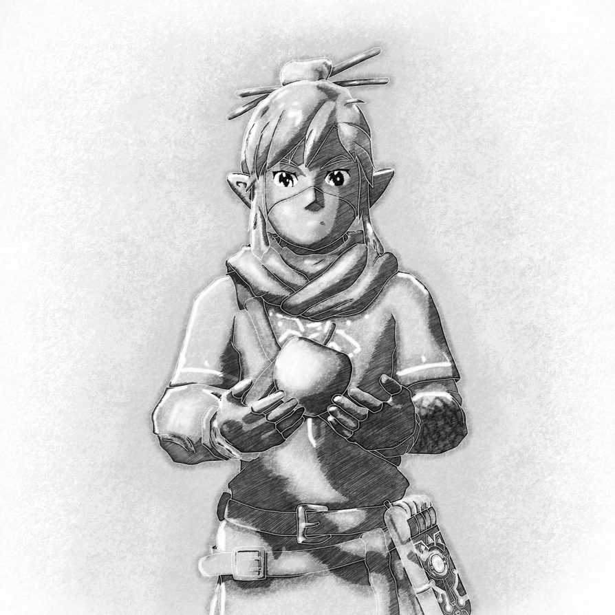 Link with Apple BnW - Zelda Breath Of TheWild by sketchygerry