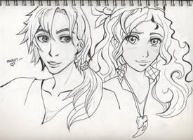 Line Art: Numair+Daine by SeiraSky