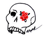 Pretentious Skull And Flowers Art