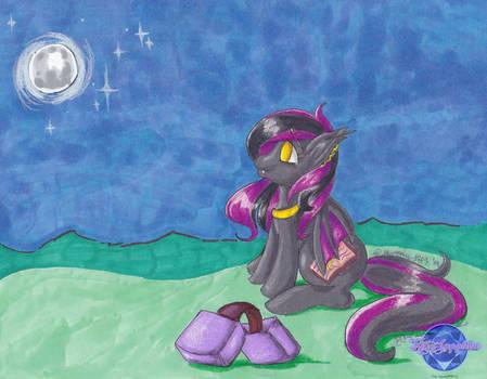 Comm: OC Batpony Moon Gazing