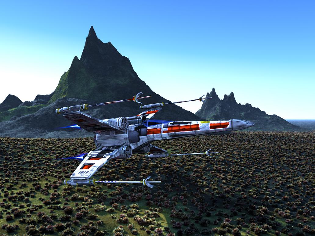 Star Wars X-Wing Fighter in Field by Stargem