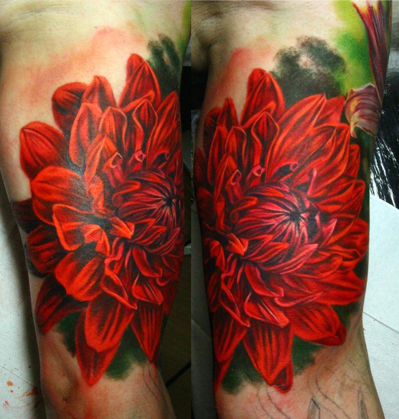 dahlia tattoo by NikaSamarina