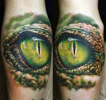 eye crocodile tattoo by NikaSamarina