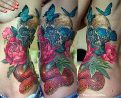 skull, snake and peonies tattoo