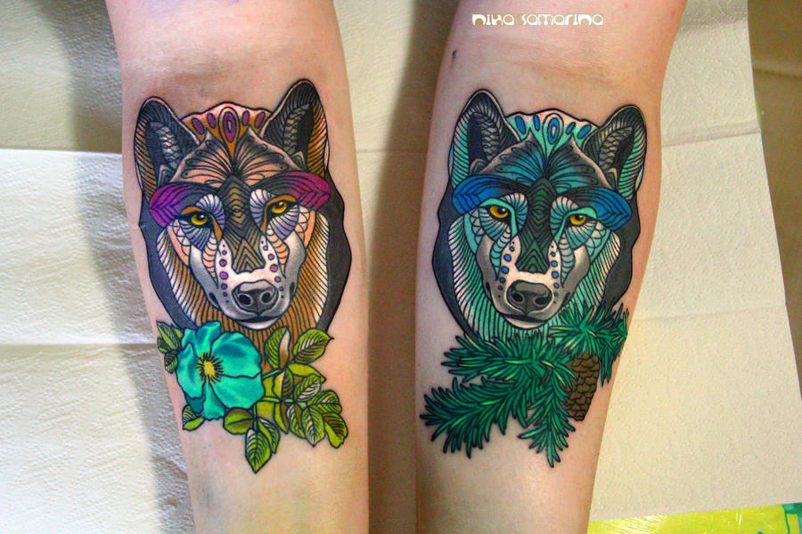 wolfs tattoo by NikaSamarina