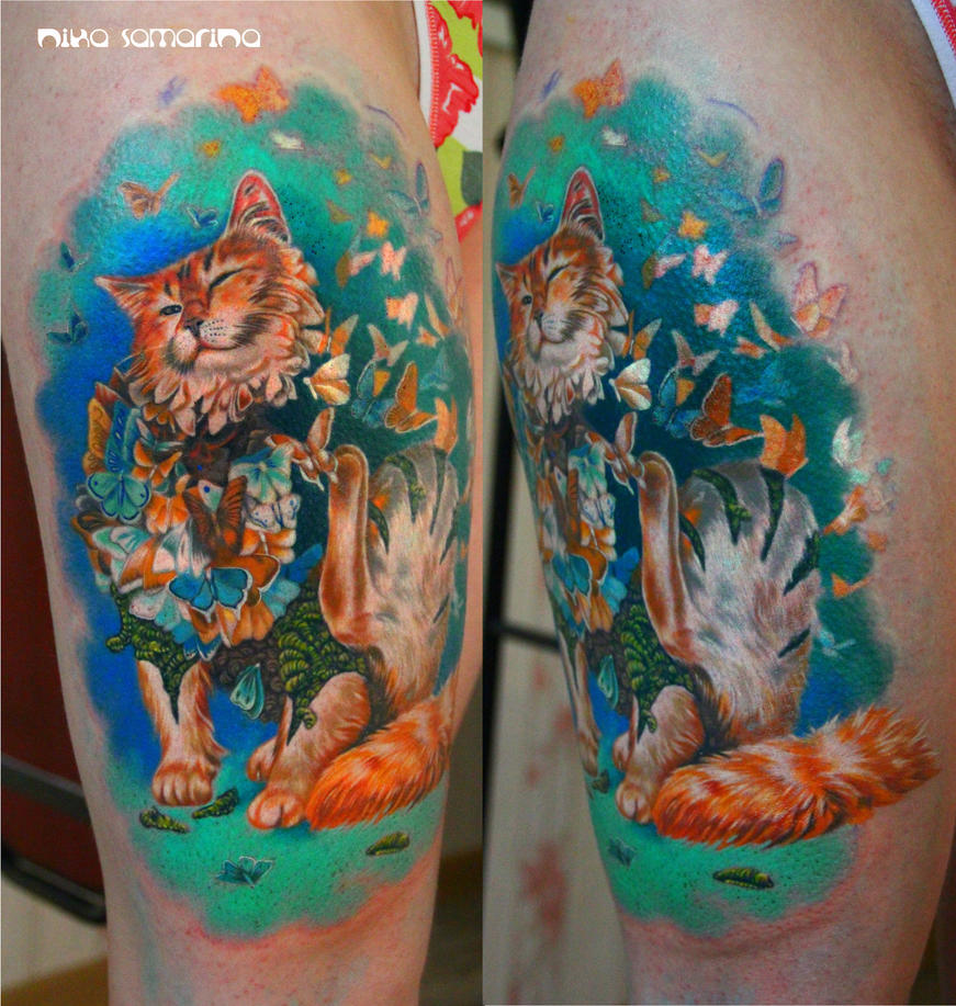 Cat Tattoos Every Cat Tattoo Design Placement And Style: Cat Tattoo By NikaSamarina On DeviantArt
