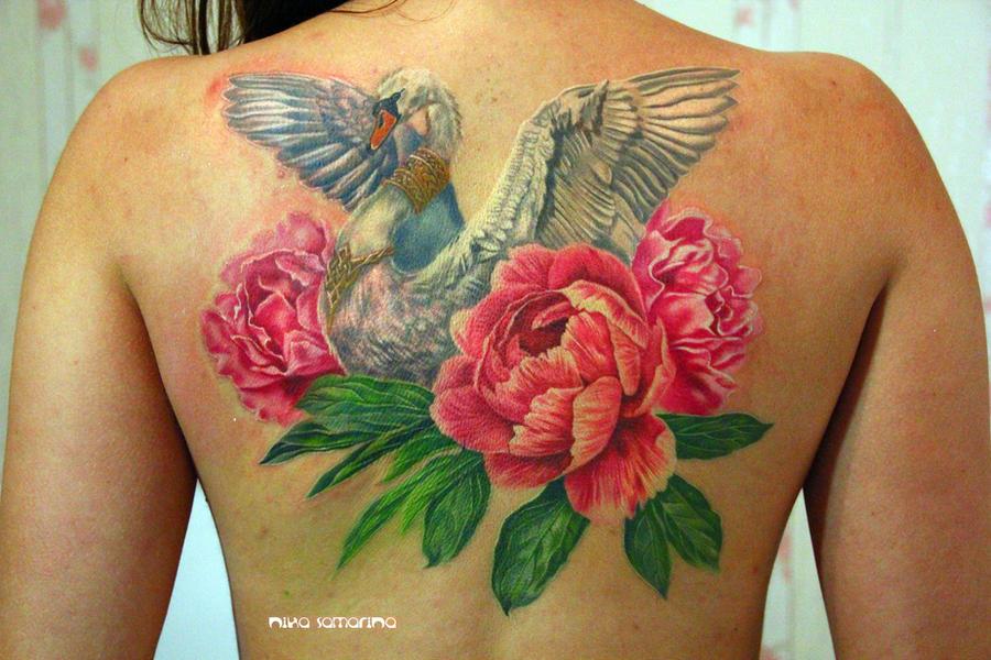 swan and peonies tattoo by NikaSamarina
