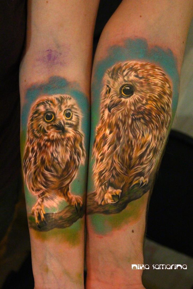owls tattoo by NikaSamarina