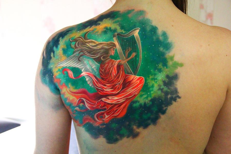 harpist tattoo by NikaSamarina