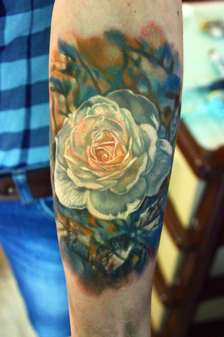 white rose tattoo by nikasamarina on deviantart. Black Bedroom Furniture Sets. Home Design Ideas