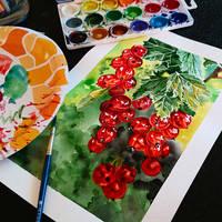 currant watercolor