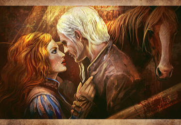 Geralt and Triss in Kaer Morhen by JustAnoR