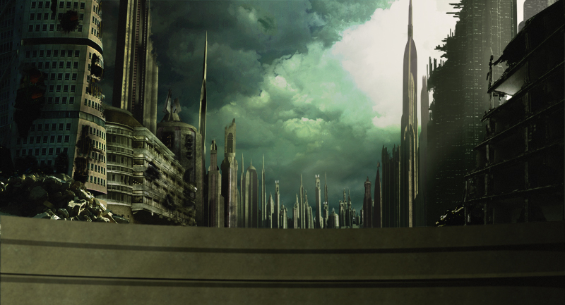 Destroyed city matte painting by Zabander