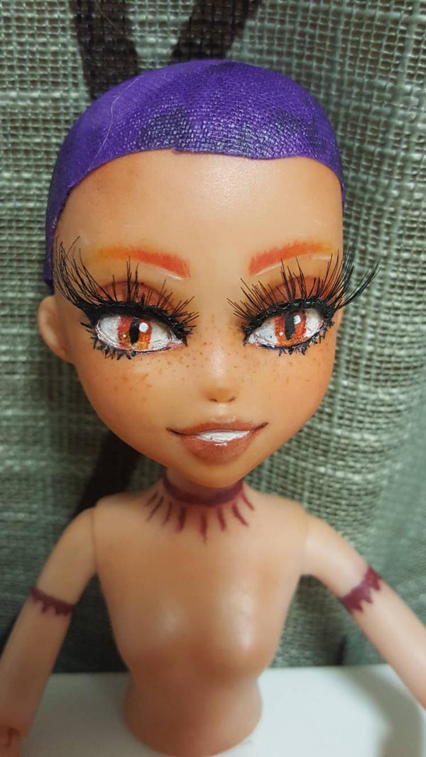 my first custom doll face up wip by Jamie5m