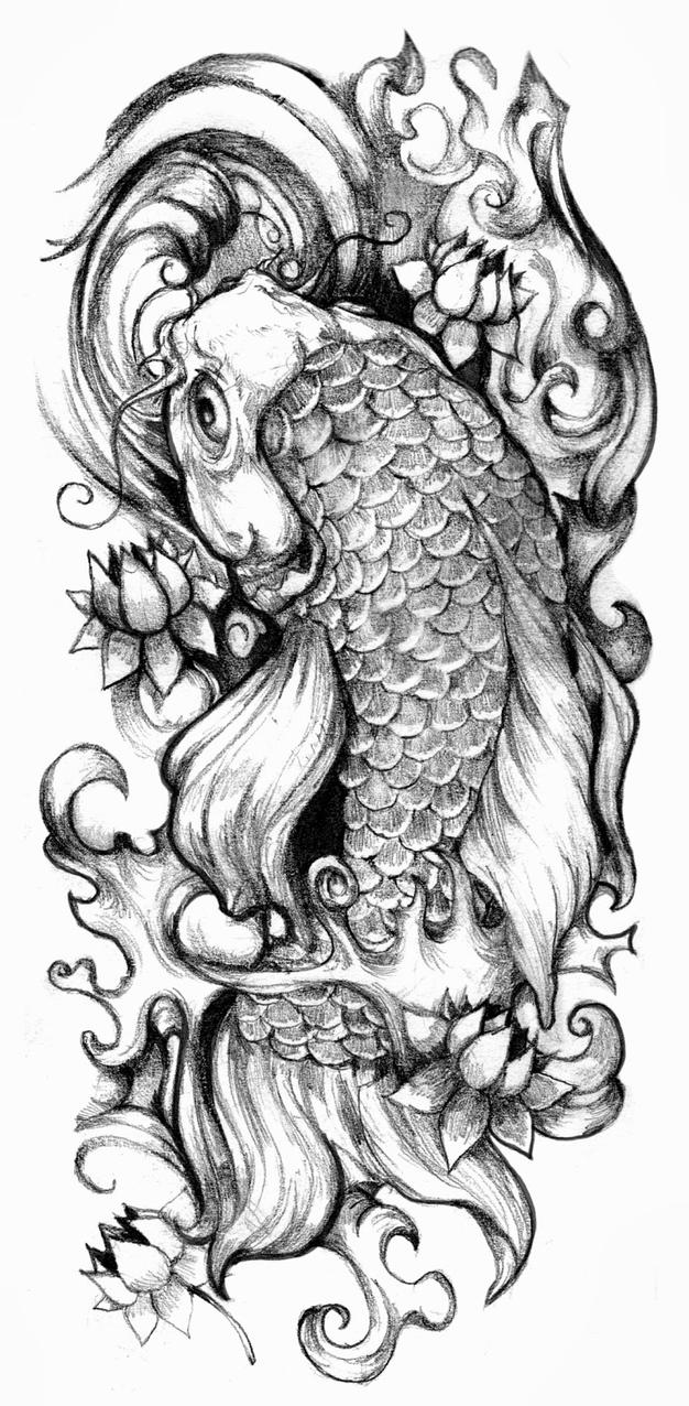 koi tattoo design by crisluspotattoos on deviantart. Black Bedroom Furniture Sets. Home Design Ideas