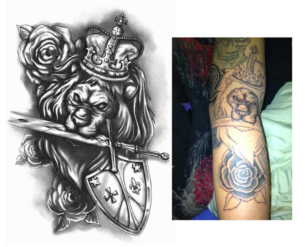 royal lion tattoo design by crisluspotattoos on deviantart