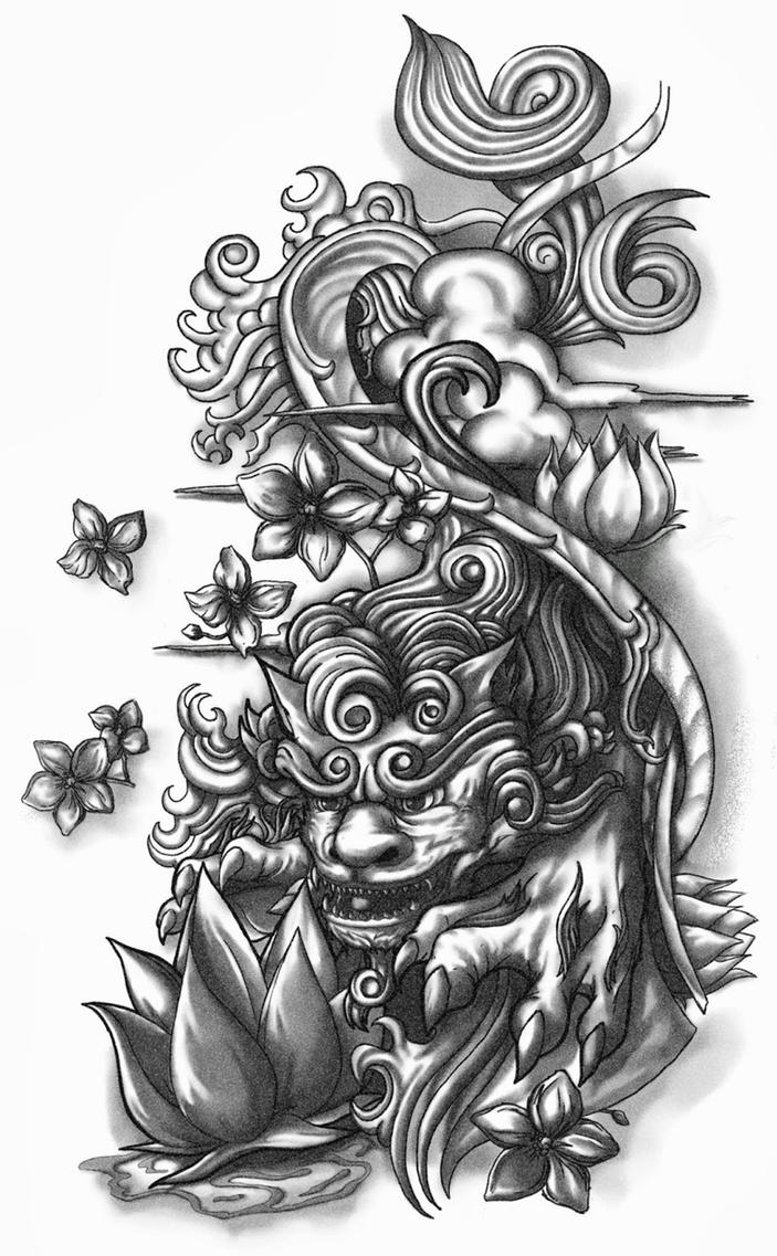 Shisa Dog Half-sleeve Tattoo Design by CrisLuspoTattoos