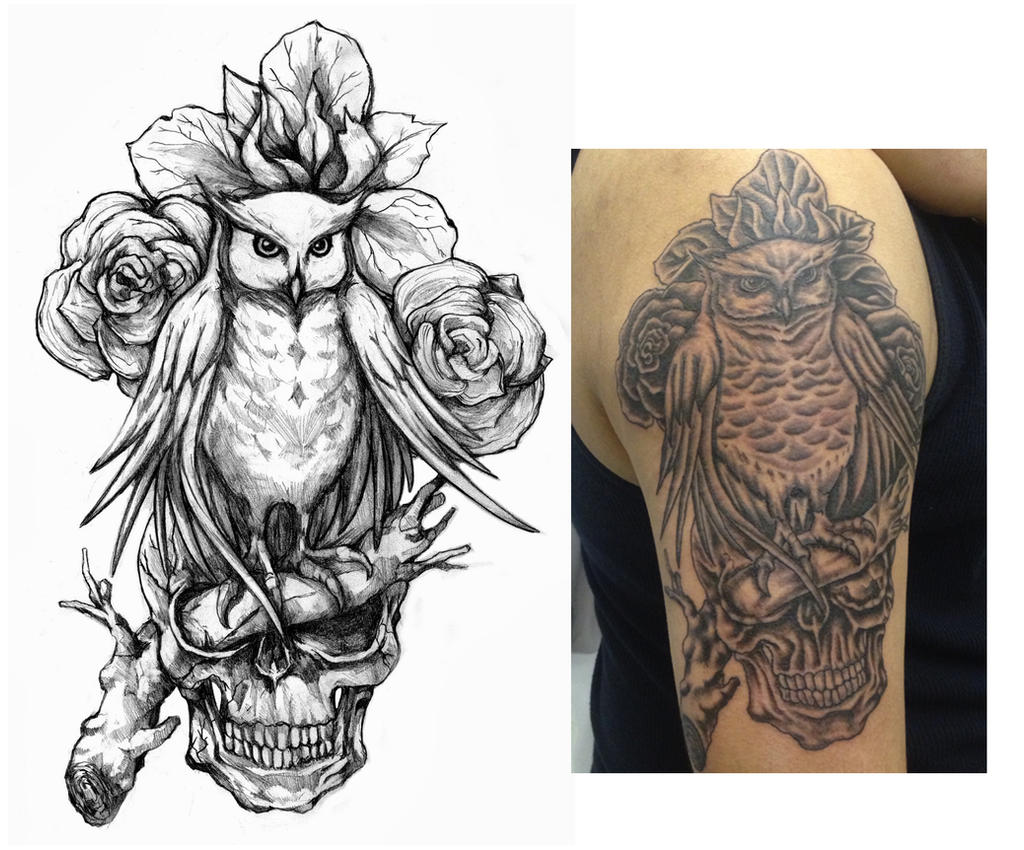 owl tattoo design by crisluspotattoos on deviantart. Black Bedroom Furniture Sets. Home Design Ideas