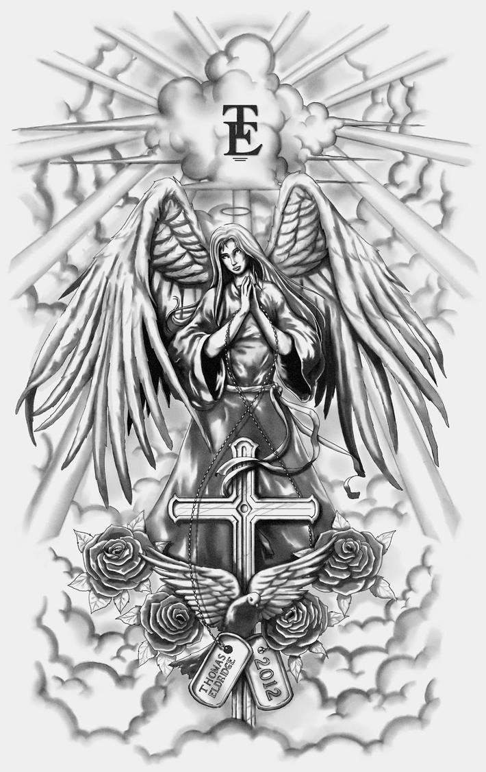 Guardian Angel Tattoo Sketches Guardian Angel Full-sl...