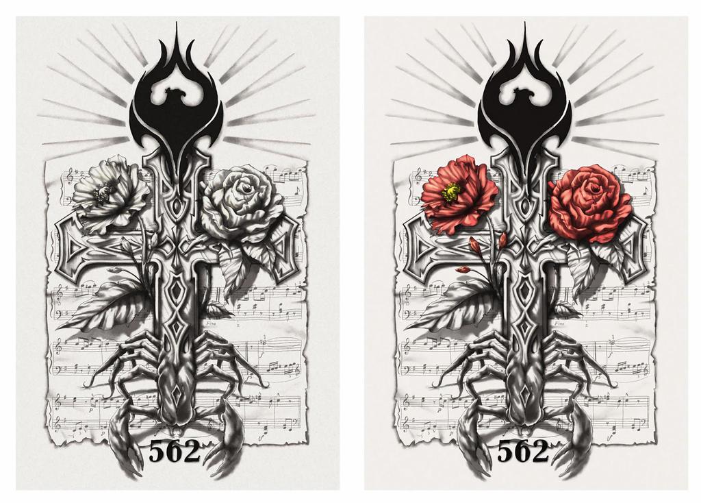 scorpion cross half sleeve tattoo design by crisluspotattoos on deviantart. Black Bedroom Furniture Sets. Home Design Ideas