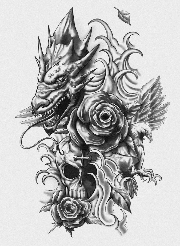 dragon skull eagle tattoo design by crisluspotattoos on deviantart. Black Bedroom Furniture Sets. Home Design Ideas