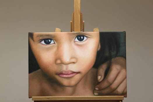 Cambodia Child Oil Painting