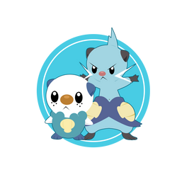 Oshawott and futachimaru by BlueBubble-L