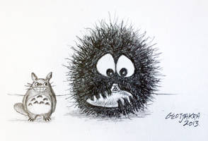 Totoro Dust Spirit Ocarina Original Drawing by Geotjakra