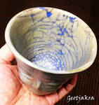 Face Cup With Blue Crackle