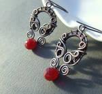 Red glass art nouveau inspired copper earrings