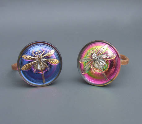 Dragonfly ring, fantasy jewelry, adjustable rings