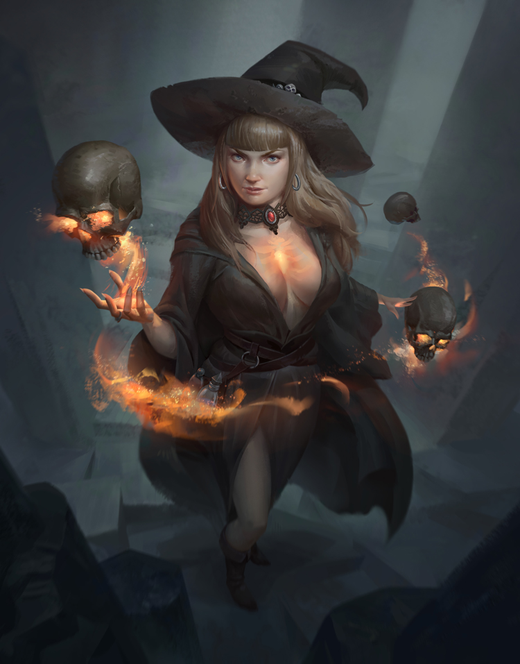 Skull Witch by NathanParkArt