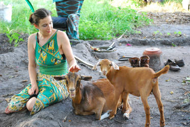Gaia Maaa with New Goat Friends