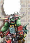 Ork WarBoss - line art by amadeushopkins