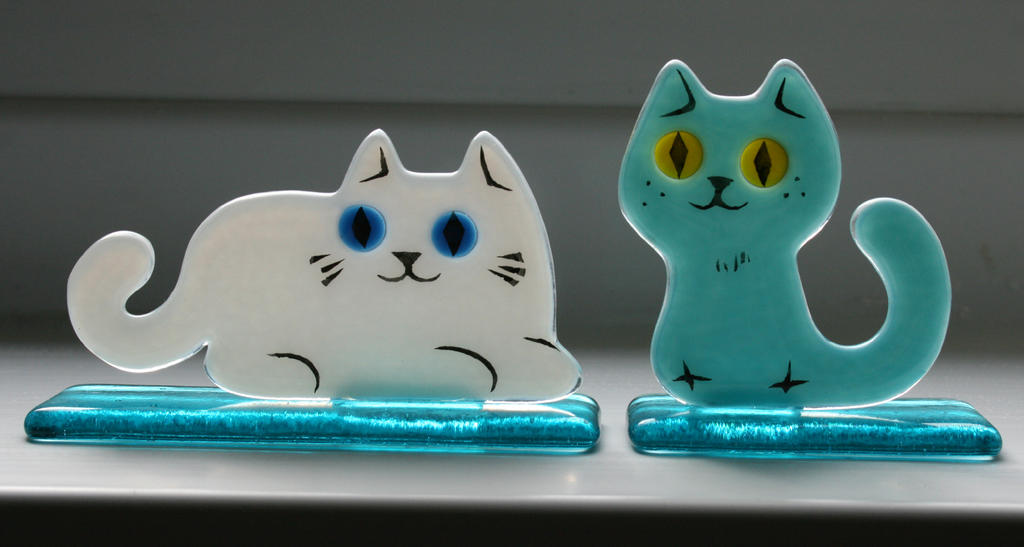 Fused Glass Cats by KupoGames