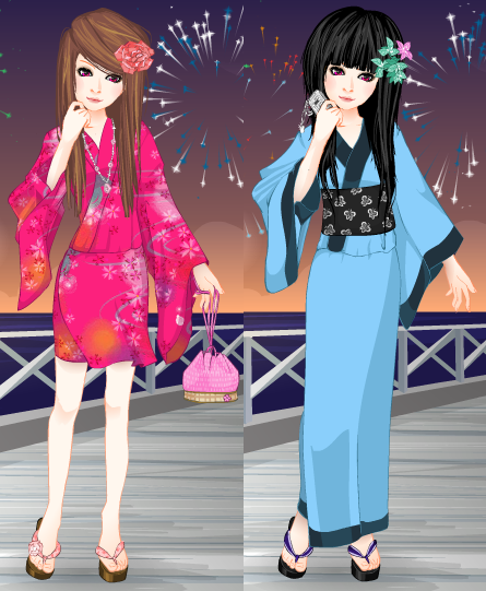 .Pink and Blue Kimonos. by TentenRikku