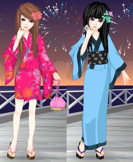 .Pink and Blue Kimonos. by TentenRikku